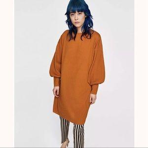 ZARA Oversized Needlecord Dress, Mustard